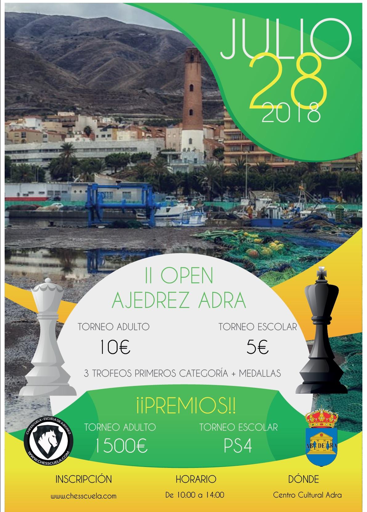 El Open Internacional de Ajedrez de Adra llega este sábado a su segunda edición