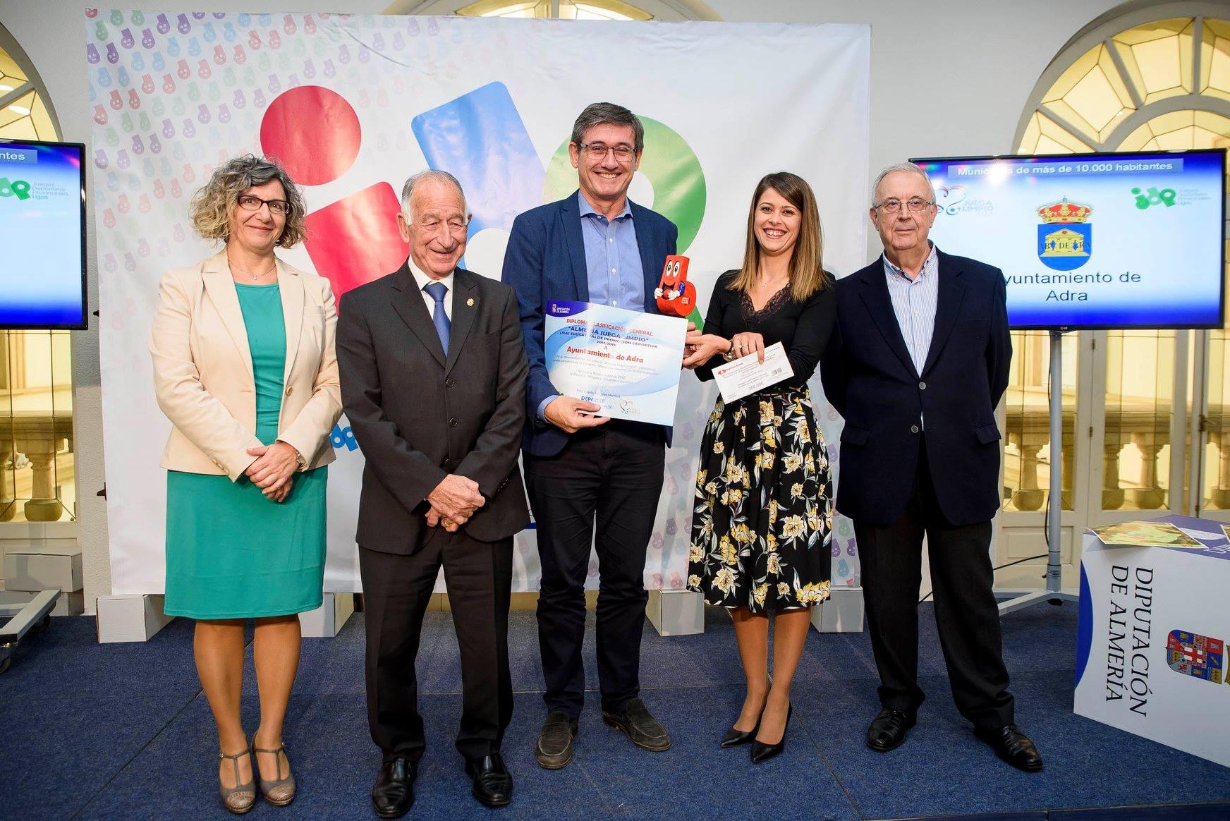 La Diputación de Almería reconoce el trabajo de fomento del deporte del Ayuntamiento de Adra